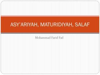 ASY'ARIYAH, MATURIDIYAH.pdf